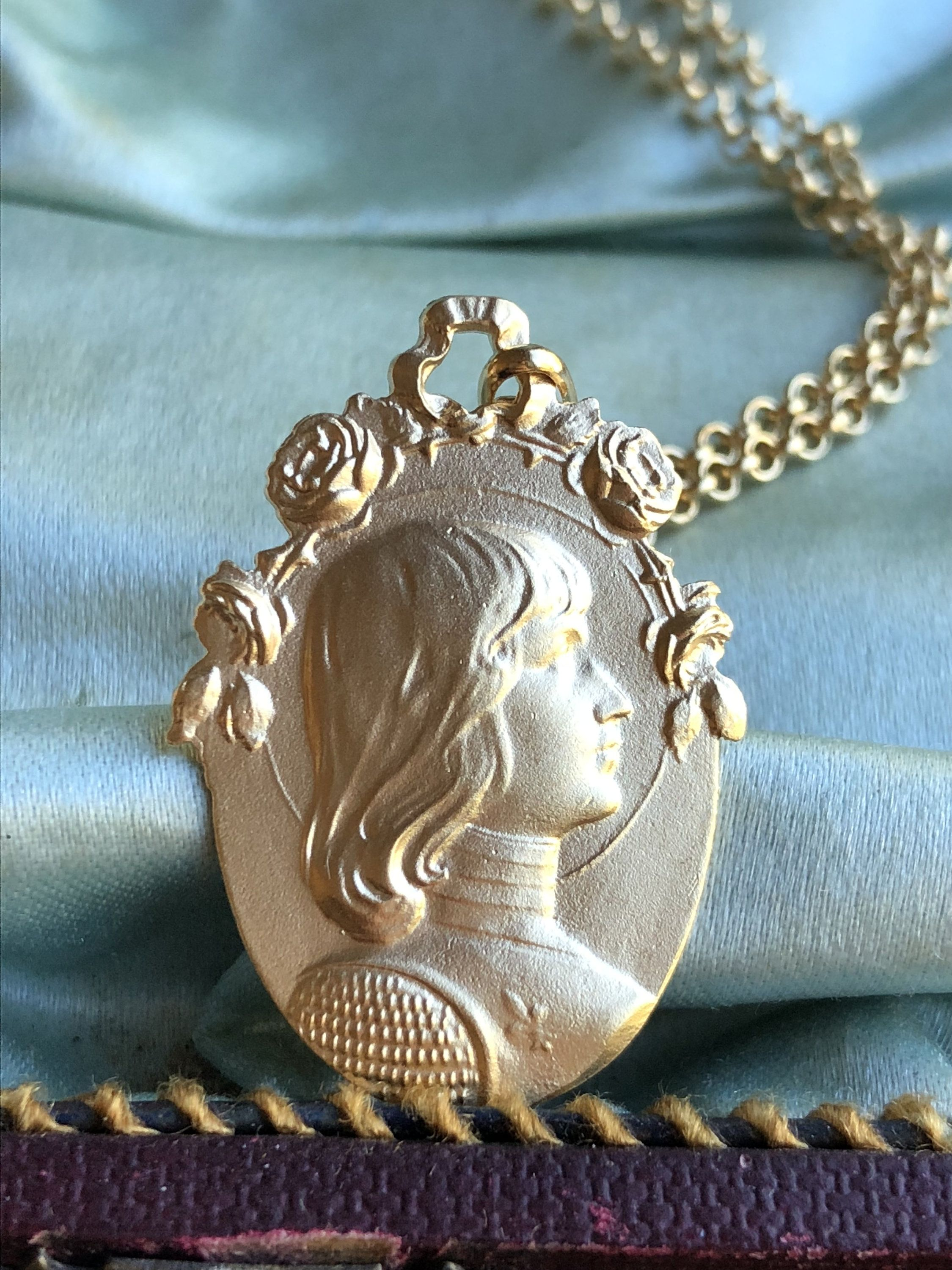 Saint joan of arc medal necklace 18k gold plated silver french art saint joan of arc medal necklace 18k gold plated silver french art nouveau religious catholic jewelry aloadofball Gallery