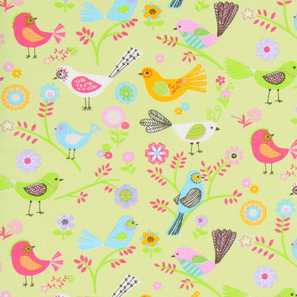 Cotton Stockholm Bird 2 - pastelgroen - Pastel - Landhuisstijl - Stoffen - Katoenen stof dieren - Kinderstoffen met dieren - Decoratiestoffen dieren - stoffen.net