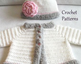61e065d03 Crochet PATTERN Baby Hat and Sweater by SatisfyYourYarnings ...