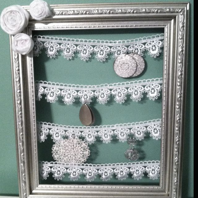 First Diy Project Lace Picture Frame Ribbon Earring Holder