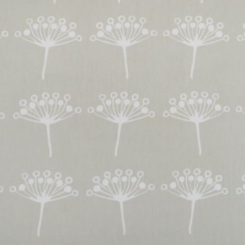 Grey Dandelion Seed Floral PVC Wipeclean Vinyl Oilcloth Tablecloth; Extra  Wide