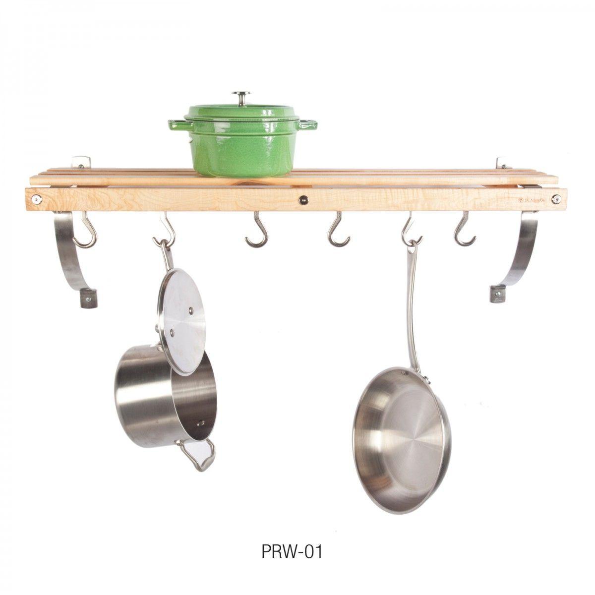 Wall mounted Pot Rack, Six Pot Hooks, Natural