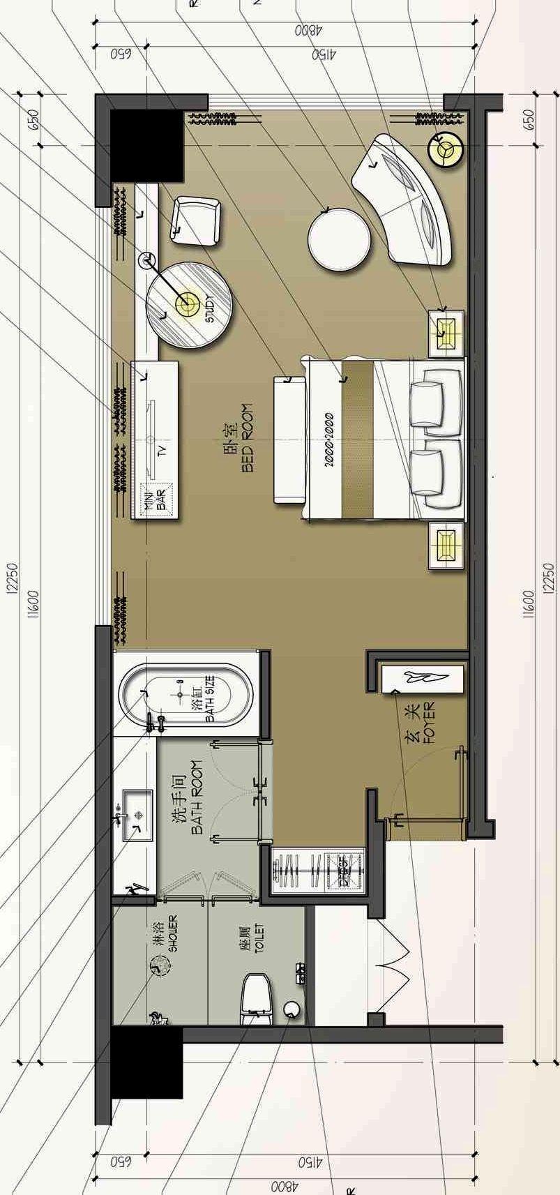 Hotel Room Plan: Hotel Bedroom Design, Hotel Room
