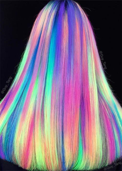 Glow In The Dark Hair Glowing Phoenix Neon Hair Neon Hair Dark