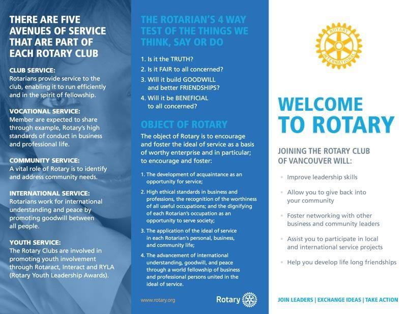 Rotary Brochure Rotary Club Of Vancouver Rotary Club Rotary Club