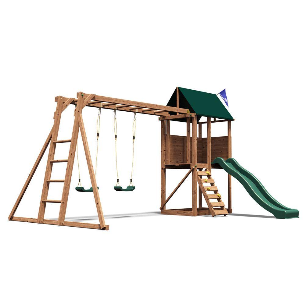 DUNSTER HOUSE SquirrelFort Outdoor Wooden Climbing Frame Swing Set ...