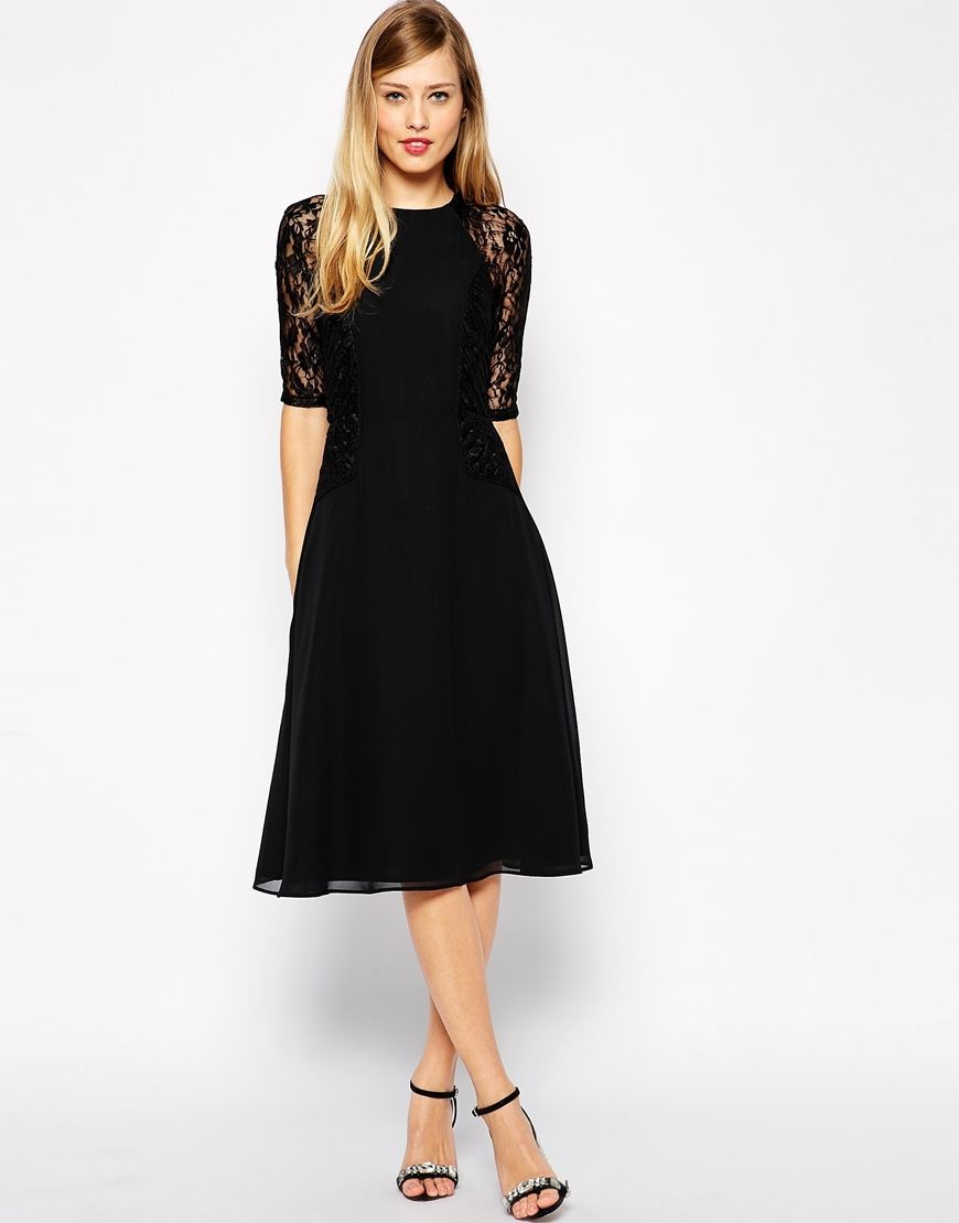 Asos black lace tutu dress