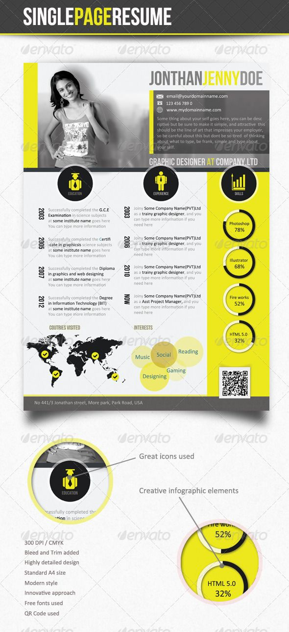 Yellowish Clean Single Page Resume - CV Resume cv, Glyph icon - single page resume template