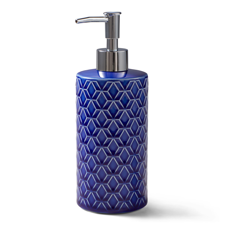 Better Homes Gardens Geo Trellis Blue Ceramic Hand Soap And Lotion Pump Walmart Com In 2020 Lotion Pumps Bath Accessories Set Kitchen Soap Dispenser