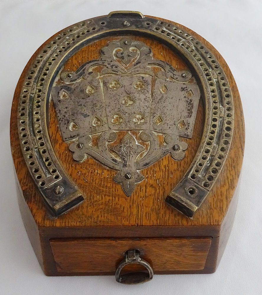 Crib boards for sale uk - Antique D A Wood And Brass Horseshoe Cribbage Board With Drawer