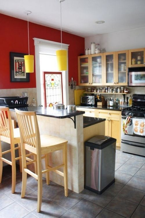 modern small kitchen with red wall decor wooden bar stool black rh pinterest co uk