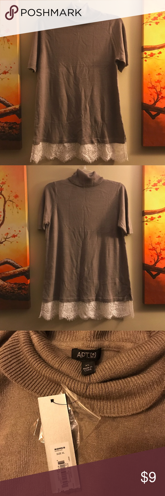 Tan Tunic Sweater NWT | Tunic sweater, Tunics and Lace detail