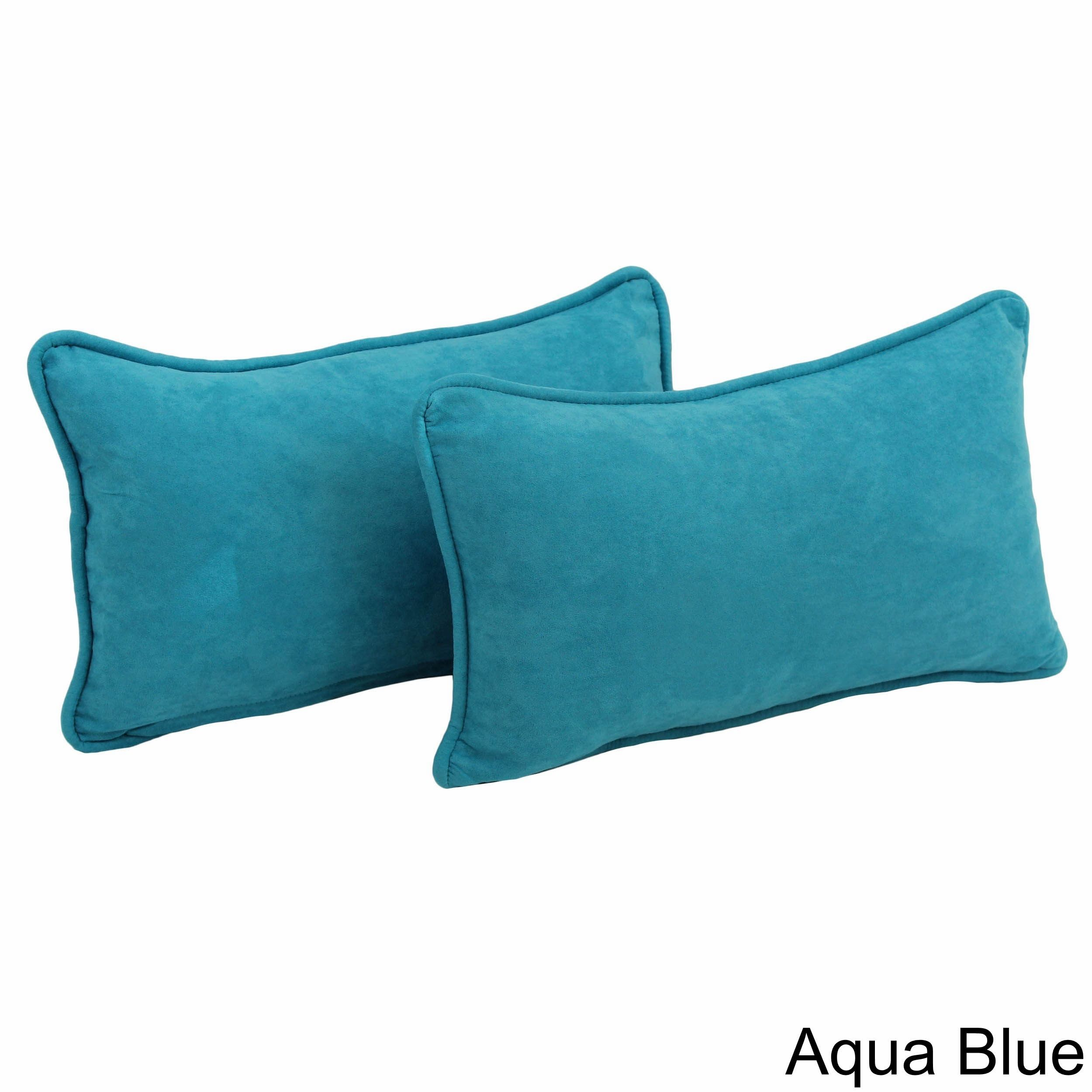 Blazing Needles Microsuede Back Support Throw Pillows (Set of 2) (Aqua Blue), Size Specialty