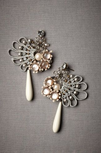 """Vis-À-Vis Earrings - on BHLDN  $380.00    Tataborello's beguiling composition brings together cool and warm, faceted and smooth, crisp and supple. From Tataborello. 3.5""""L, 2.5""""W. Swarovski crystals, lurex, mother of pearl, cotton, brass. Handmade in Italy."""