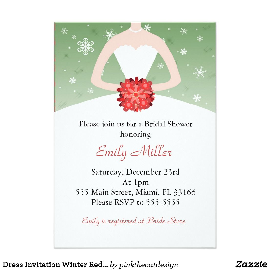 Dress Invitation Winter Red Green Bridal Shower Impress your guests with this lovely invitation card. Personalize it with your details for any event.