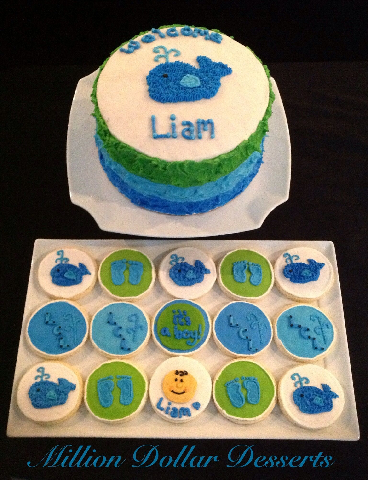 Whale Baby Shower Cake w Theme Cookies