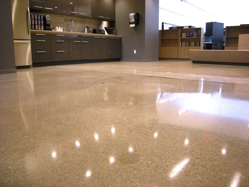 Polished Concrete Floor In An Office At Business Information