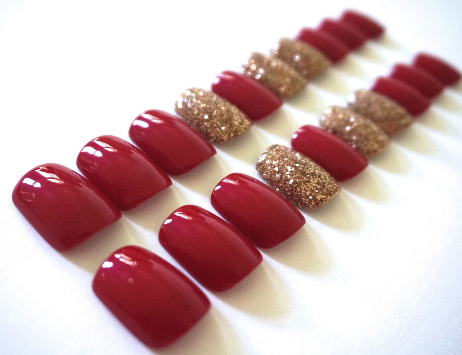Red Nails- Champagne Accent Nails- Fake/False Nails- Acrylic Nails ...
