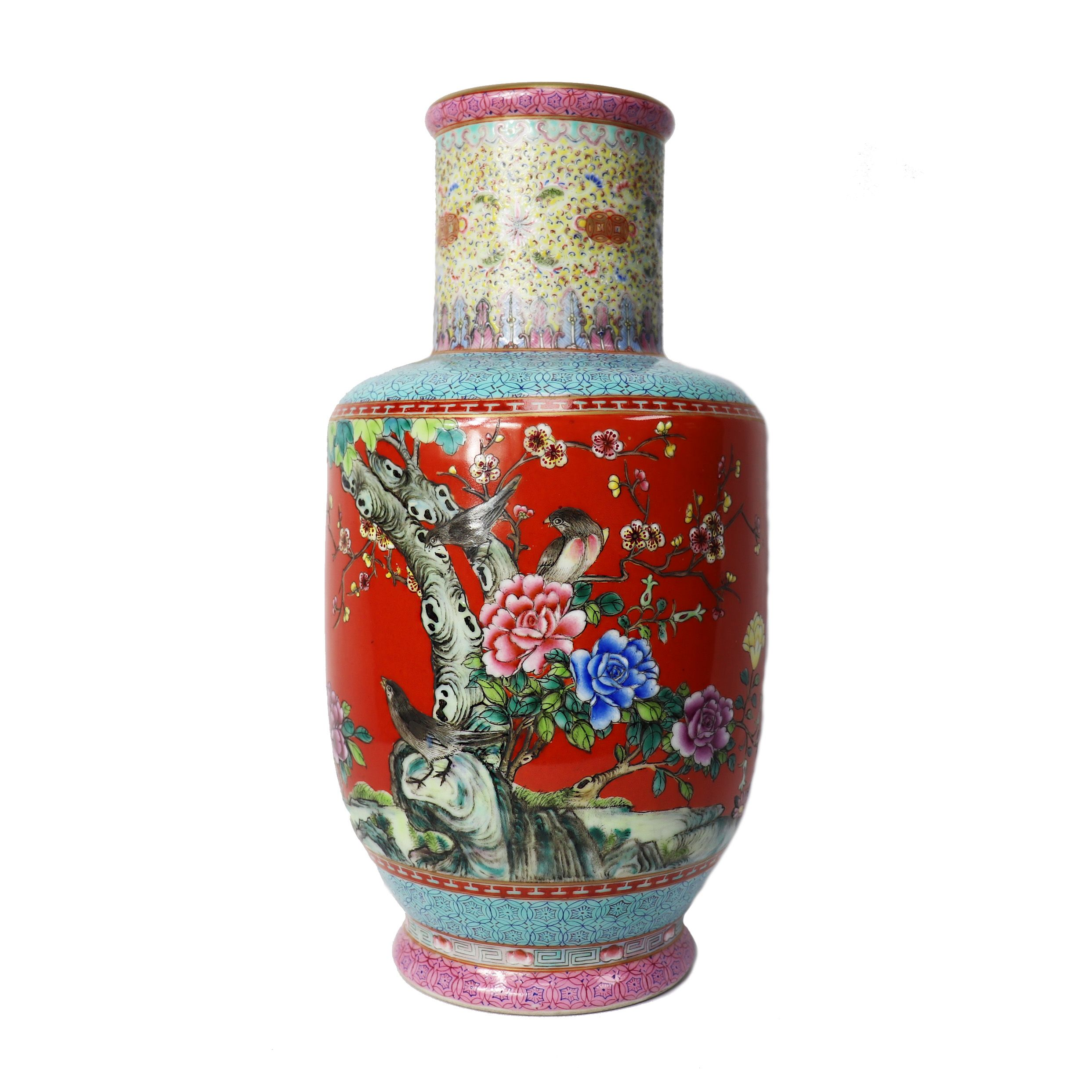 Stunning Vintage Chinese Porcelain Vase With Beautiful Nature Motif Chinese Porcelain Nature Motifs Chinese Porcelain Vase