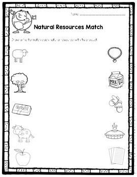 This Product Will Be A Great Addition To Your Natural Resources Unit Students Will Ma Natural Resources Activities Natural Resources Social Studies Worksheets