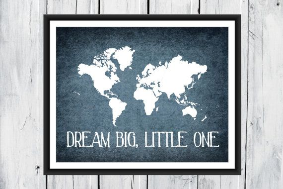World map print nursery wall decor dream big little one world map print nursery wall decor custom colors dream big little one gumiabroncs Image collections