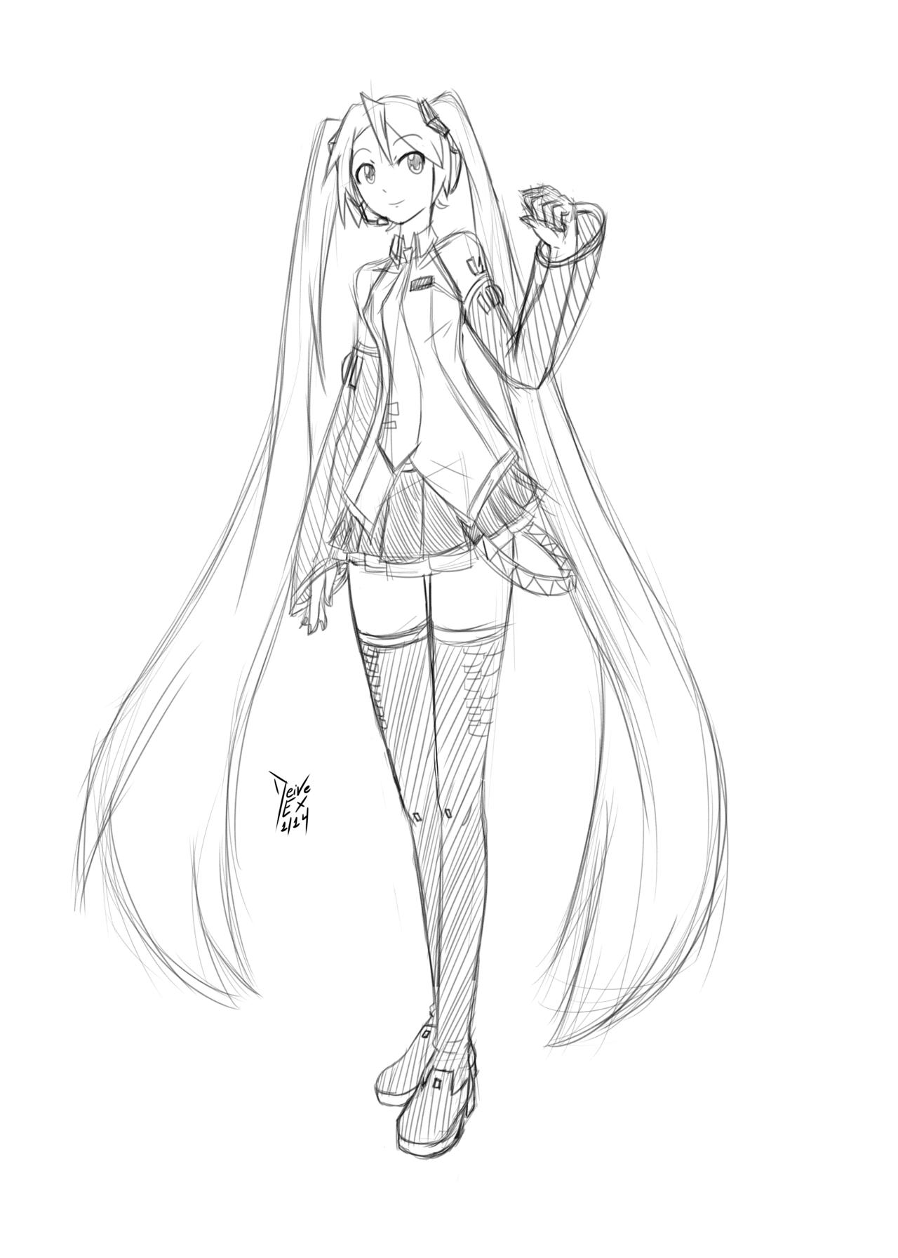 Hatsune Miku Sketch By Deiveex On Deviantart Hatsune Miku Miku Hatsune