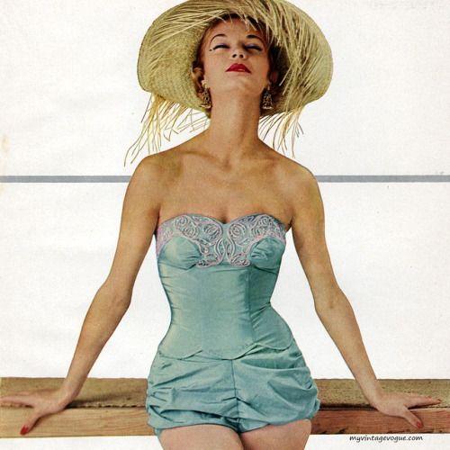 Jean Patchett wearing a swimsuit by Rose Marie Reid, 1954