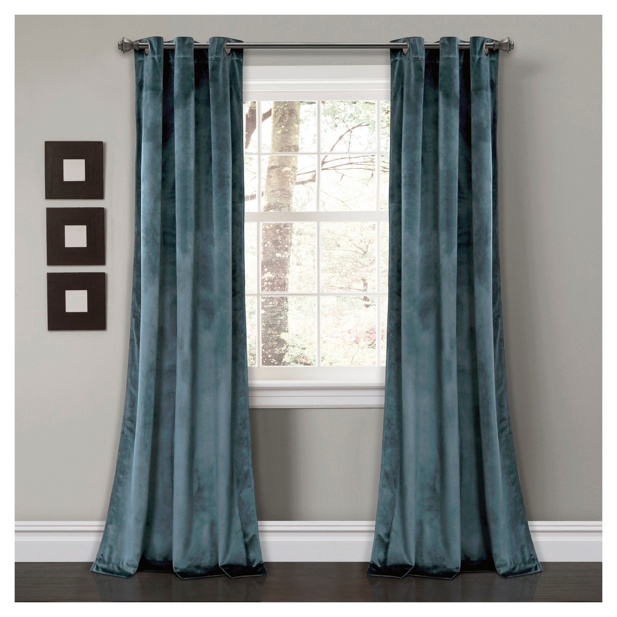 84 L Pair Bedroom Dining Lush Decor Prima Velvet Curtains Color Block Room Darkening Window Panel Set for Living Blue