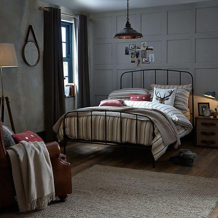 john lewis resto bed frame king size cream  industrial
