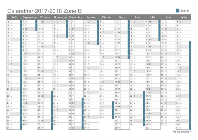 Calendrier Vacances Scolaires 2019 Et 2021 Zone B Calendrier des vacances scolaires 2017 2018 de la zone B