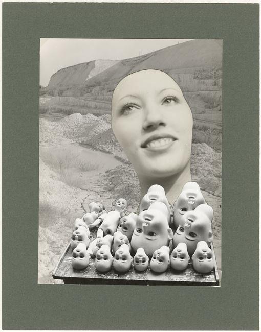 Marcel Bovis.Têtes de poupées, visage féminin, paysage aride, 1978.