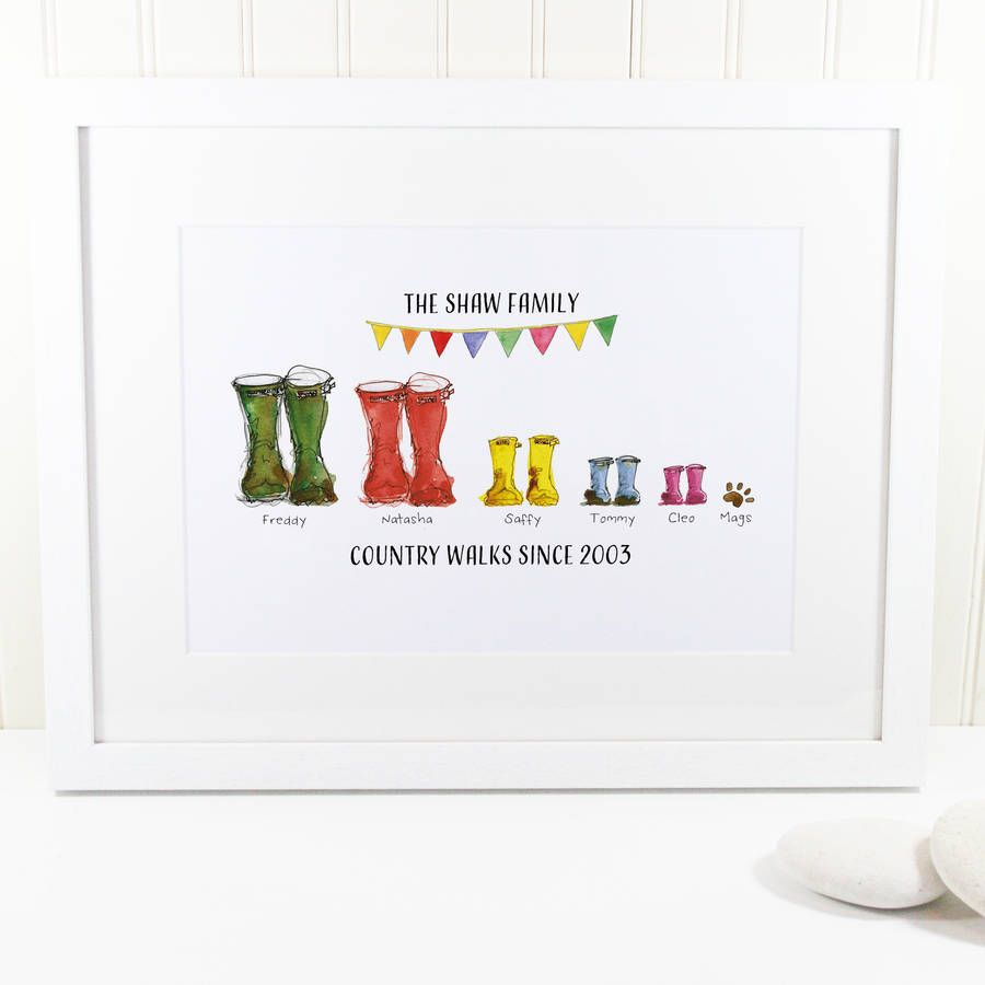 personalised welly boot family print welly boots