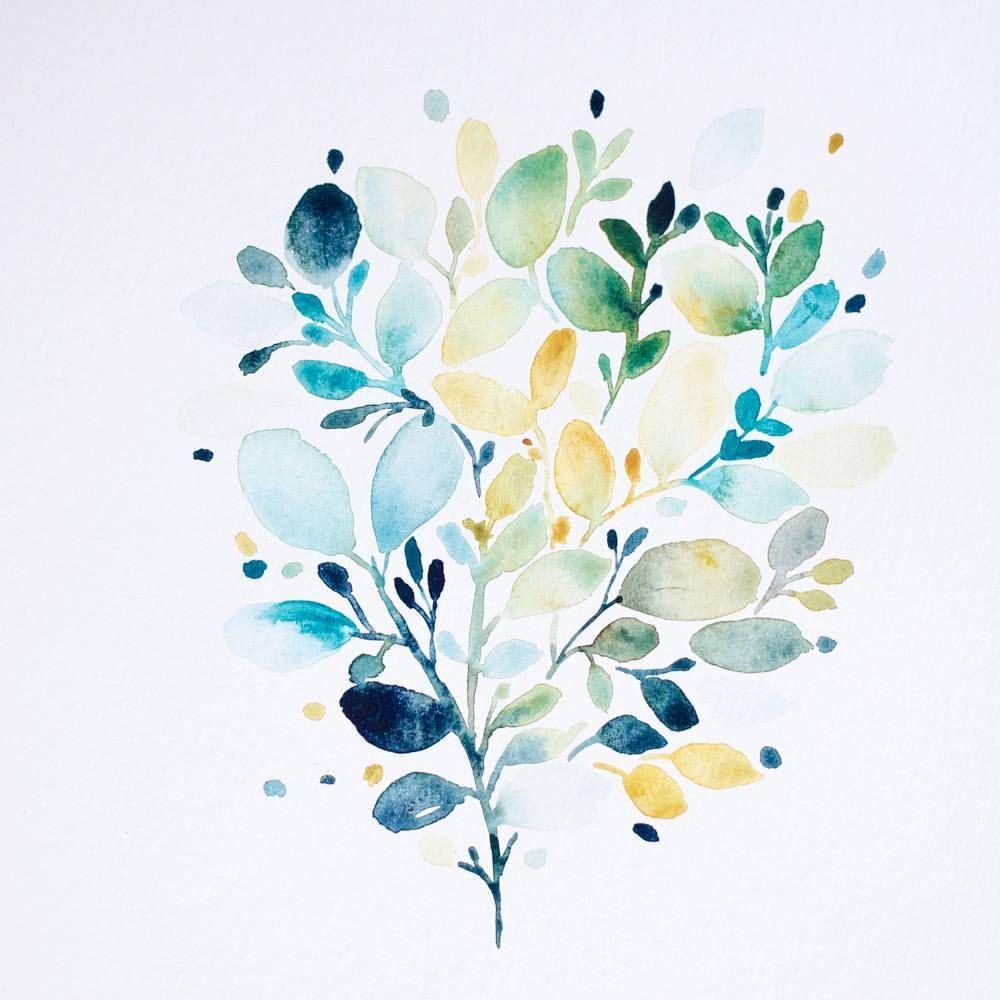 Une Petite Aquarelle Que J Aime Bien Tout Feuillue Je Teste Des Nouvelles Compositions Sur Le Papier Cell Lettrage Aquarelle Idees D Aquarelle Art Floral