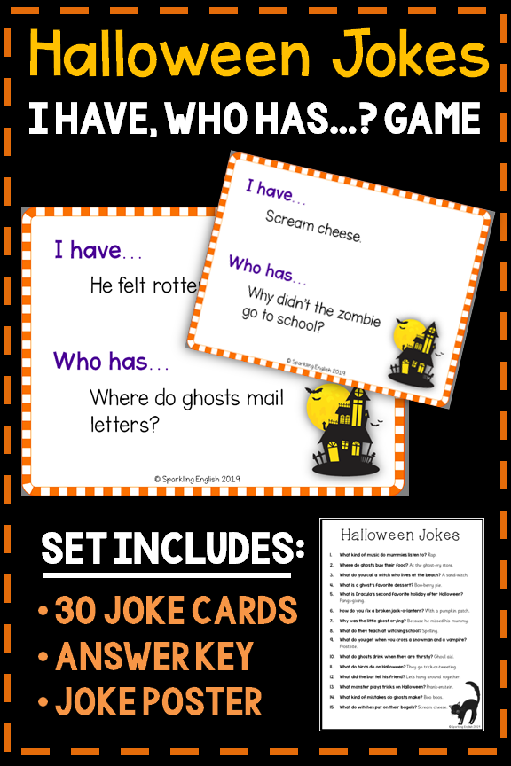 """Halloween Jokes """"I Have, Who Has"""" Game (With images"""