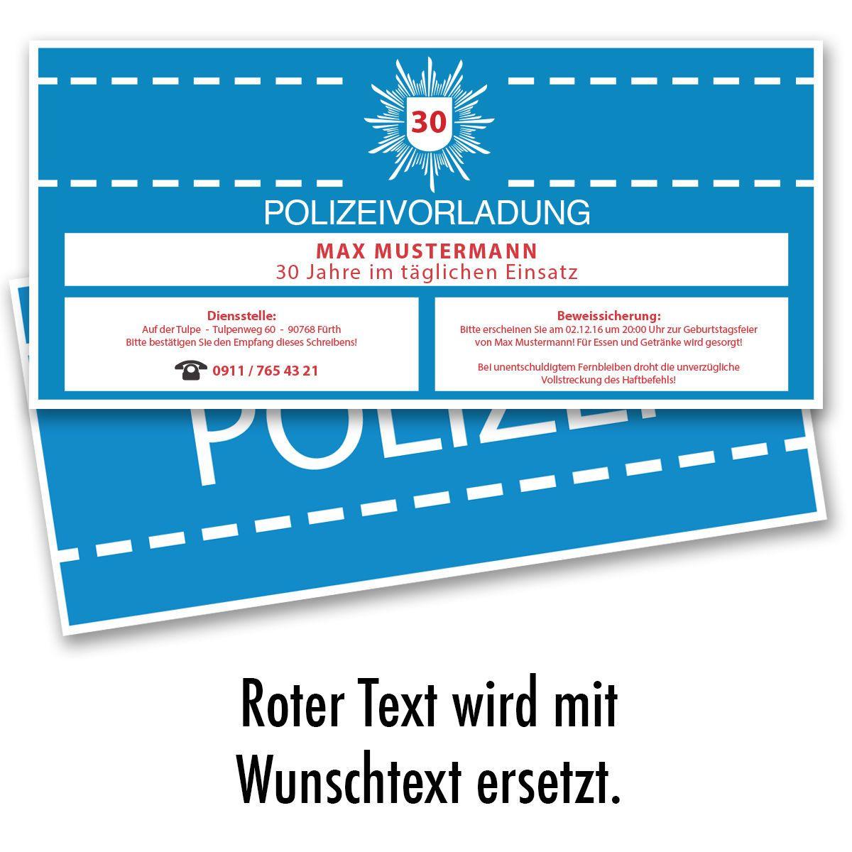 details zu einladungskarten zum geburtstag als polizeivorladung, Einladung