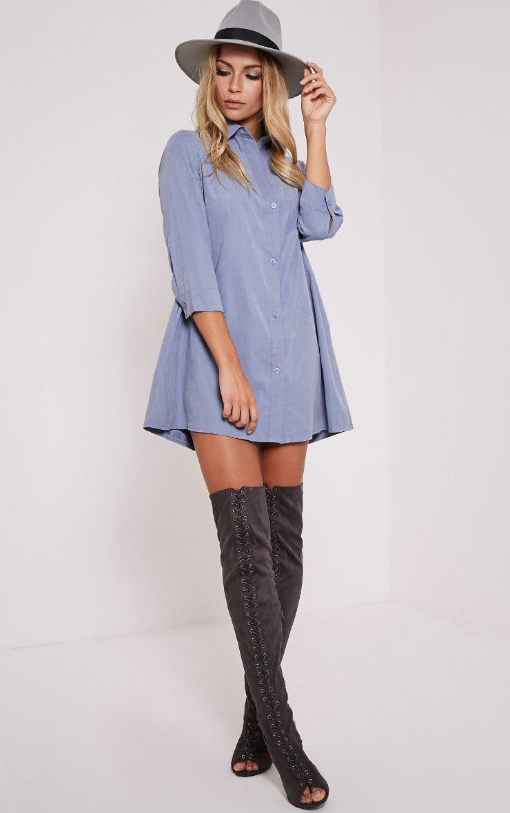 Leni Blue Shirt Dress Image 2 | For zante. | Pinterest | Blue ...