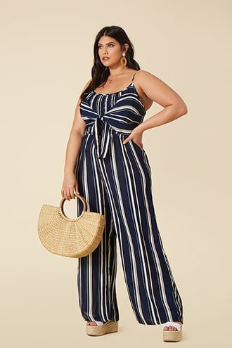 3d0a92ec2834 1930s Wide Leg Pants and Beach Pajamas Plus Size Striped Jumpsuit  29.90 AT  vintagedancer.com