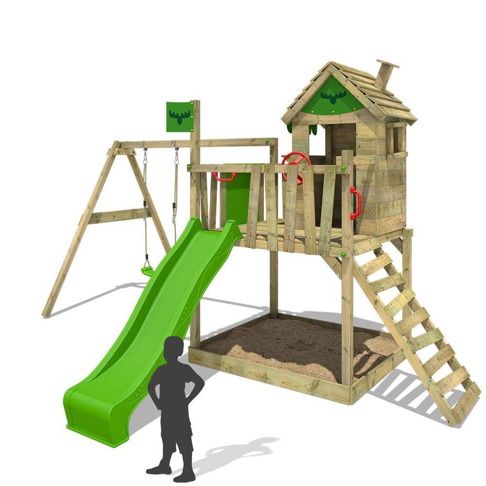 Fatmoose Rockyranch Roll Xxl Stelzenhaus Spielturm Baumhaus Schaukel Rutsche Garten Terrasse Gartenbauten Schaukel Rutsche Spielturm Kinder Klettergerust