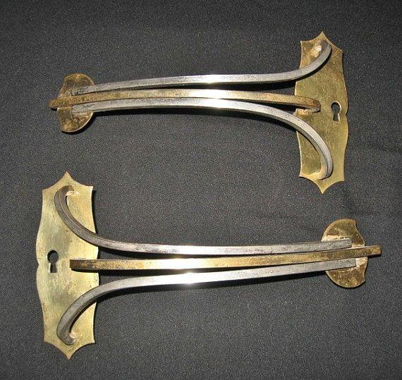 Pull Handles, 1950u0027s Stylized Brass Closet Door Handles, French Vintage