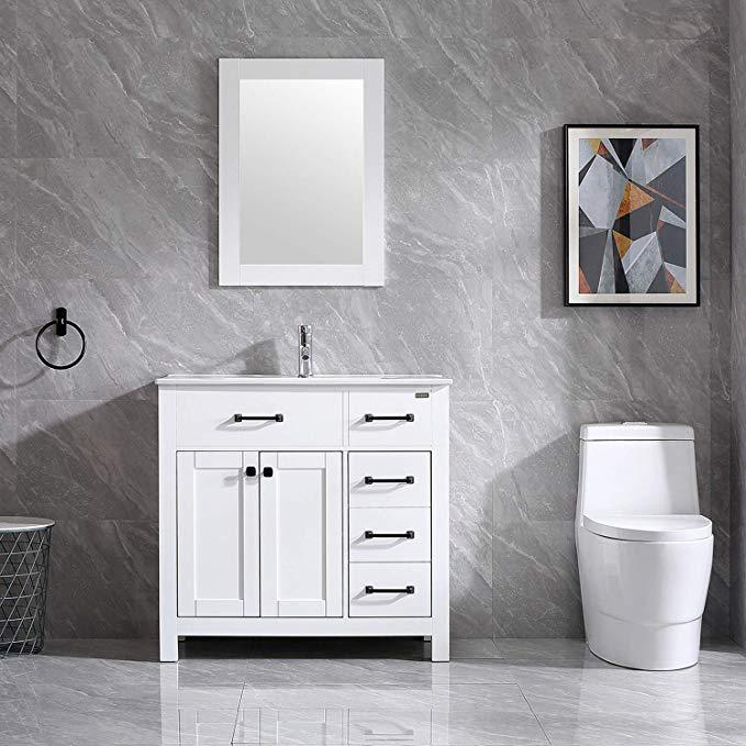 Amazon Com Wonline 36 Bathroom Vanity And Sink Combo Cabinet Undermount Ceramic Vessel Sink Chorme F In 2020 Chrome Faucet Bathroom Vanity Bathroom Vanities For Sale