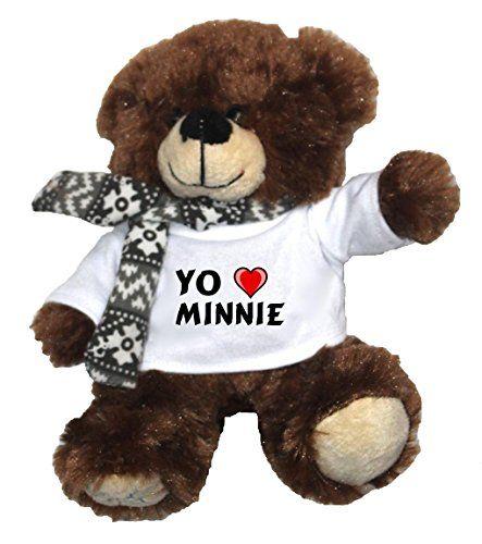 Oso marrón de peluche con Amo Minnie en la camiseta (nombre de pila/apellido/apodo) #regalo #arte #geek #camiseta