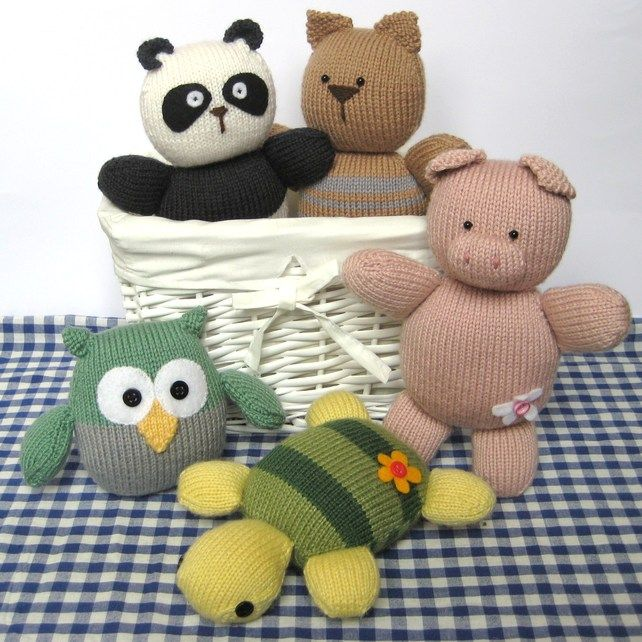 Squidgy Friends Toy Animal Knitting Patterns Easy For Beginners