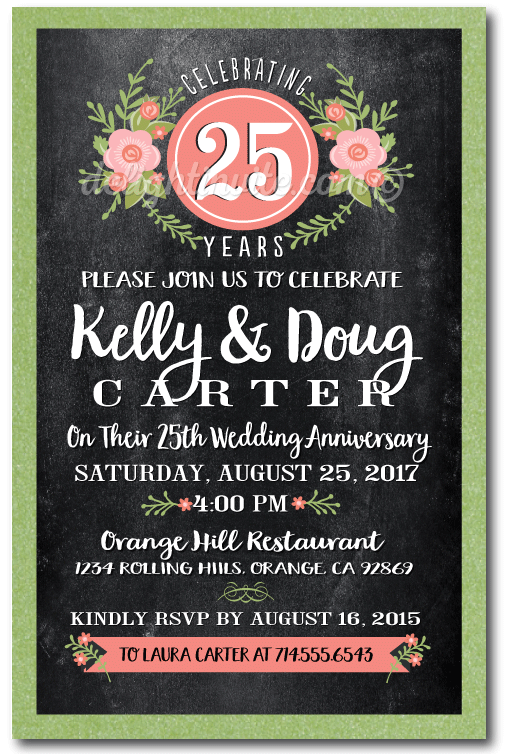 Chalkboard 25th Anniversary Party Invitations Printed On