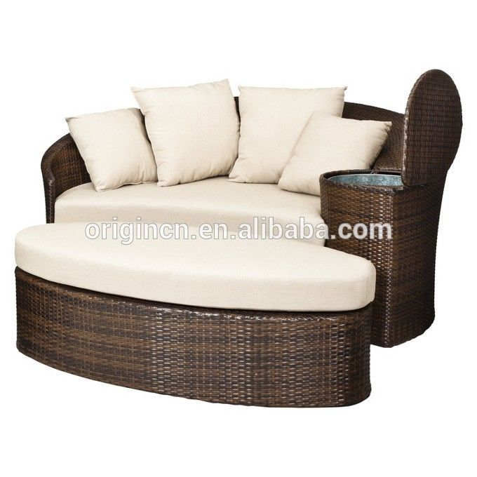 Patio Loveseat And Ottoman Sectional Round Sun Bed With Cooler Rattan Outdoor Daybed