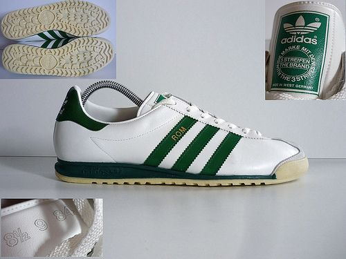 70s80s Adidas Rom sneakers in green & white | Shoes