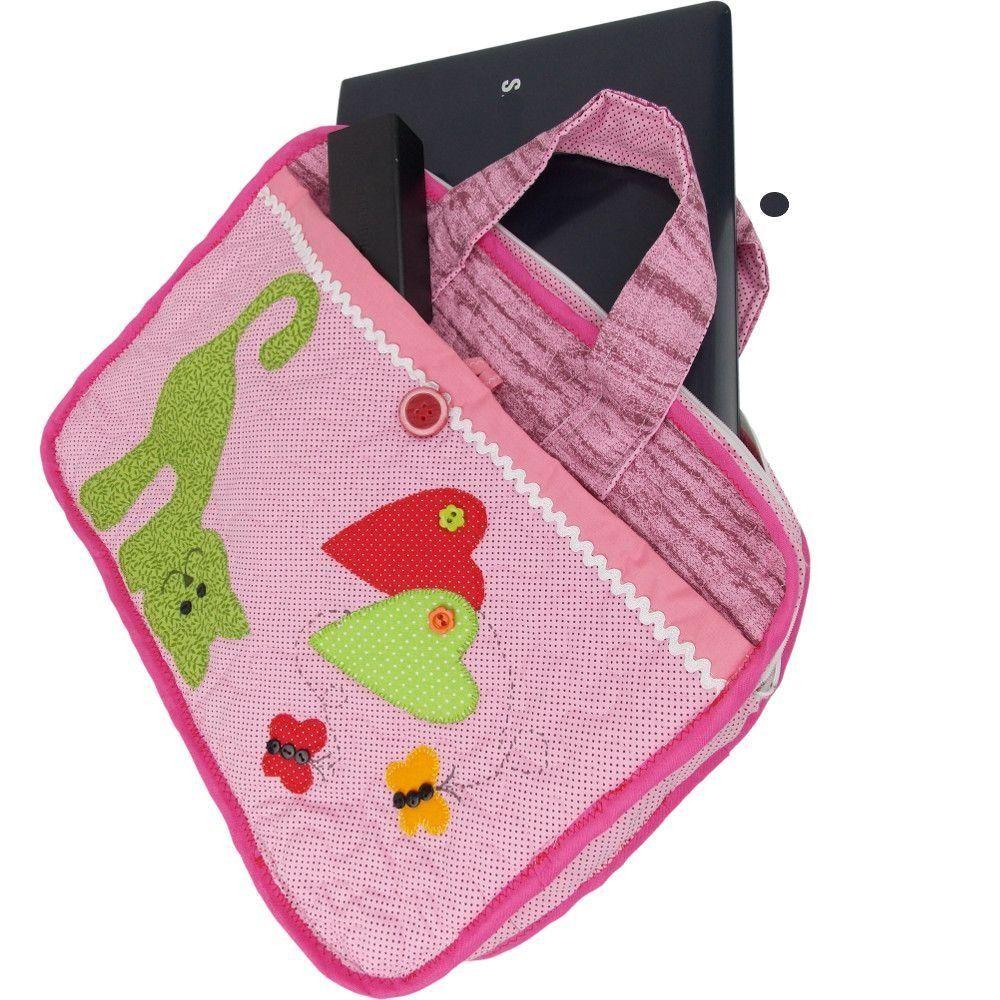 Bolsa De Tecido Para Notebook : Bolsa de patchwork para notebook com patch aplique gato