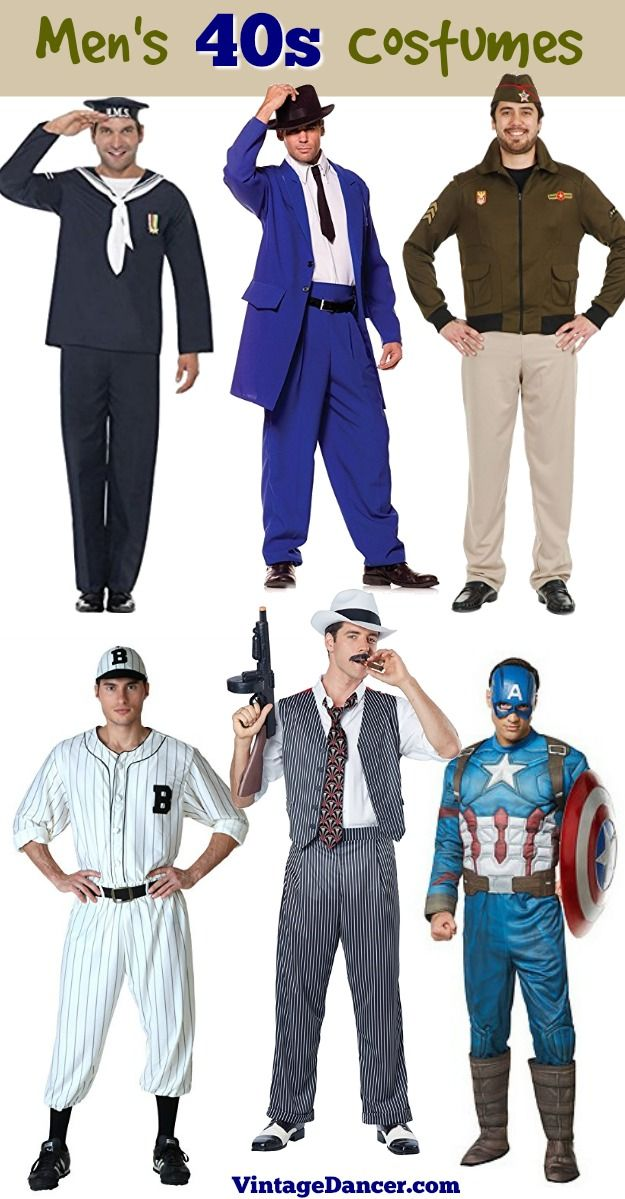 1940s 40s mens costumes ideas Navy sailor zoot suit gangster mafia ww2 pilot vintage baseball players Captain America  sc 1 st  Pinterest & 1940s Mens Costumes for Halloween and Fancy Dress | Pinterest | Zoot ...