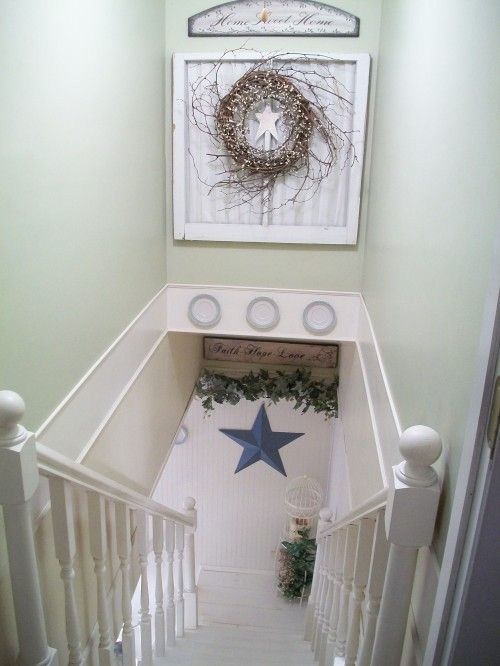 Excellent Use Of Stairway Space Decorating Use Chair Rail