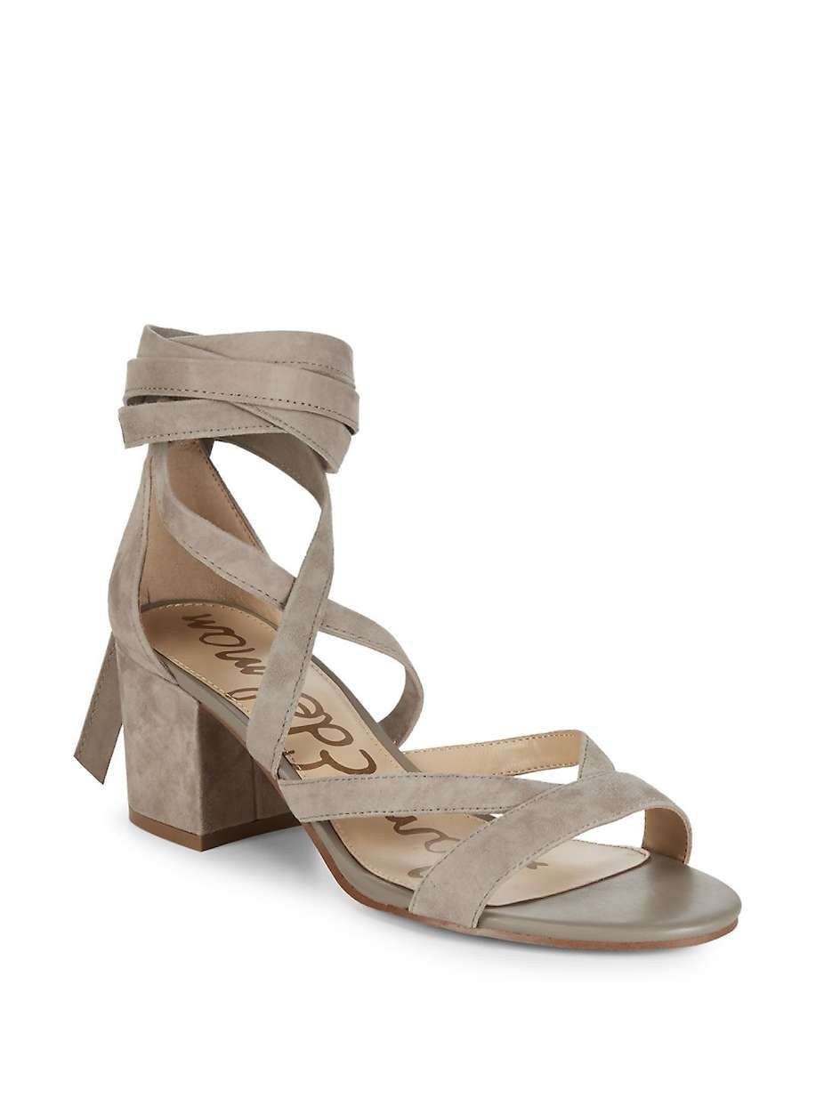 2d6ab49a421 Sam Edelman Sheri Suede Block Heel Sandals Ankle tie-up on statement-making suede  sandals Self-covered block heel