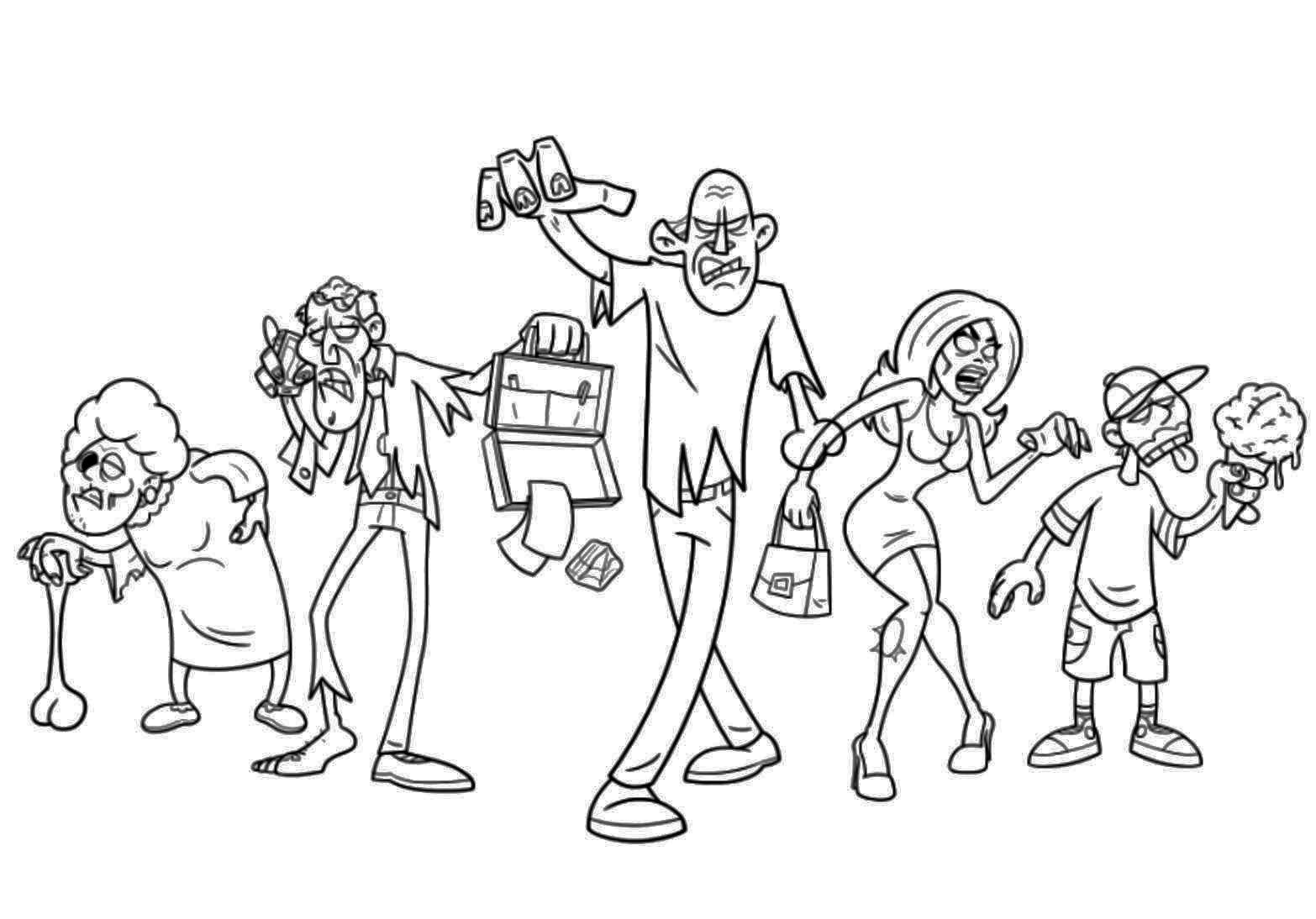 Zombies Assembled Coloring Page | All colored up | Pinterest
